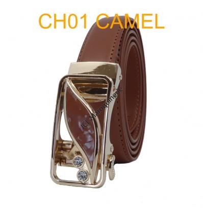 Ceinture femme automatique boucle crémaillère sans trous en croute de cuir de vachette CH01 camel