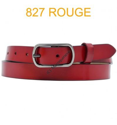 Ceinture femme en croute de cuir de vachette 827 Rouge