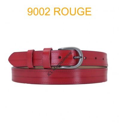 Ceinture femme en croute de cuir de vachette 9002 Rouge