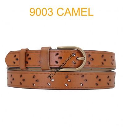 Ceinture femme en croute de cuir de vachette 9003 Camel