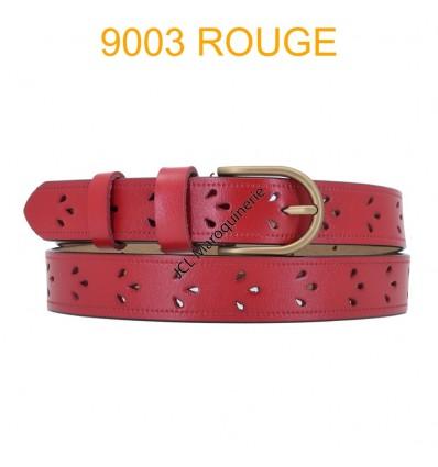 Ceinture femme en croute de cuir de vachette 9003 Rouge