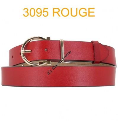 Ceinture femme large en croute de cuir de vachette 3095 Rouge