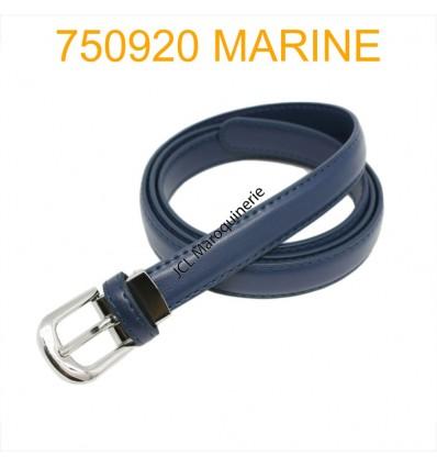Ceinture classique fine en croûte de cuir 750920 marine