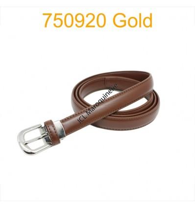 Ceinture classique fine en croûte de cuir 750920 gold