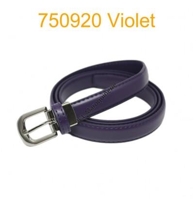 Ceinture classique fine en croûte de cuir 750920 violet