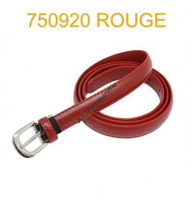 Ceinture classique fine en croûte de cuir 750920 rouge