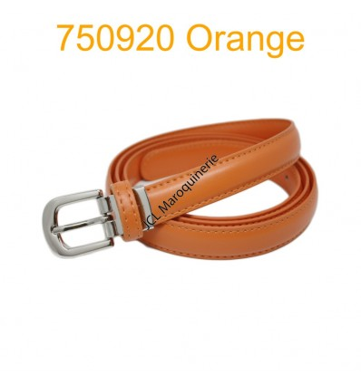 Ceinture classique fine en croûte de cuir 750920 orange