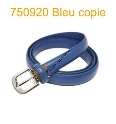 Ceinture classique fine en croûte de cuir 750920 bleu