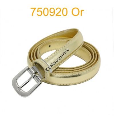 Ceinture classique fine en croûte de cuir 750920 dorée