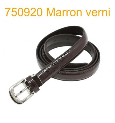 Ceinture classique fine en croûte de cuir 750920 marron vernis