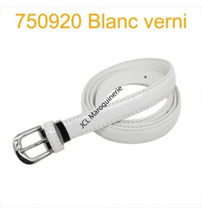 Ceinture classique fine en croûte de cuir 750920 blanc ernis