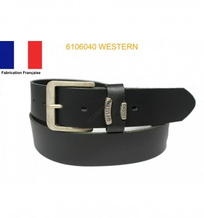 Ceinture en croûte de cuir de vachette fabriqué en France 6106040 Western