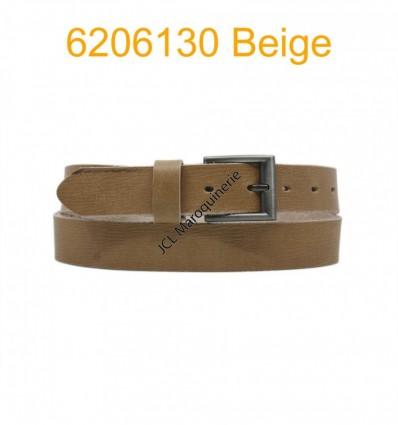 """Ceinture en cuir de buffle """"veau gras"""" fabriqué en France 6206130 Beige"""