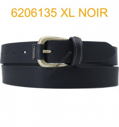 """Ceinture en cuir de buffle """"veau gras"""" fabriqué en France 6206135 Noir XL Grande taille"""