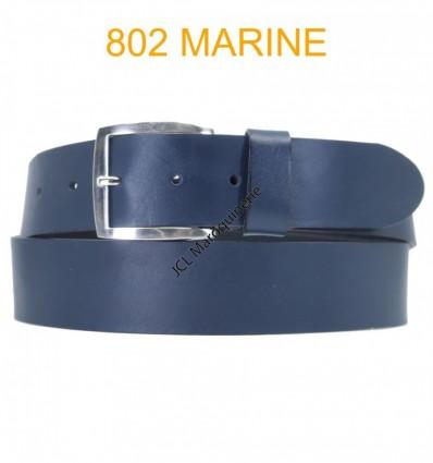 Ceinture en cuir de vachette fabrication francaise 802 marine