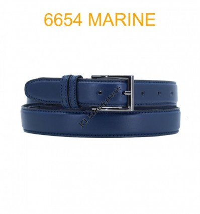 Ceinture en cuir de vachette fabrication francaise 6654 Marine