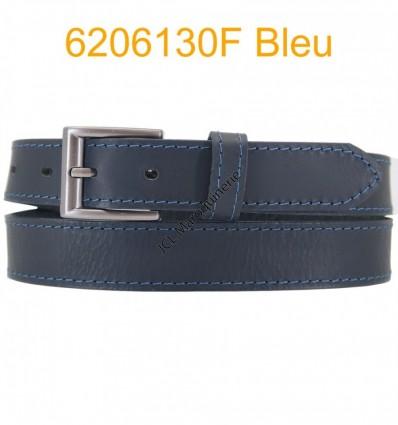 """Ceinture en cuir de buffle """"veau gras"""" fabriqué en France 6206130 Noir surpique Bleu"""