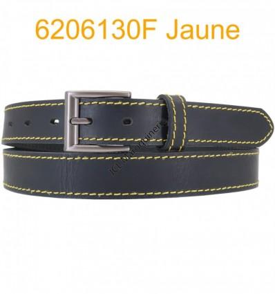 """Ceinture en cuir de buffle """"veau gras"""" fabriqué en France 6206130 Noir surpique Jaune"""