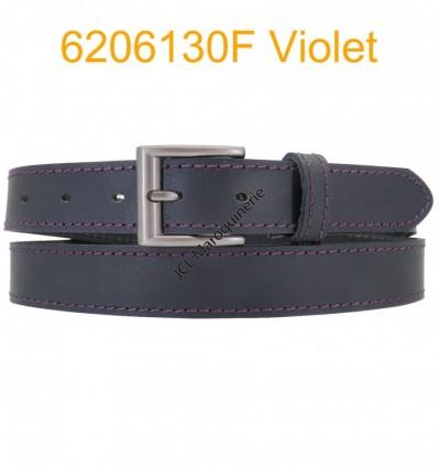 """Ceinture en cuir de buffle """"veau gras"""" fabriqué en France 6206130 Noir surpique Violet"""