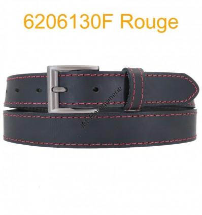 """Ceinture en cuir de buffle """"veau gras"""" fabriqué en France 6206130 Noir surpique Rouge"""
