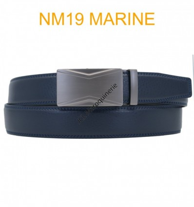 Ceinture automatique boucle crémaillère sans trous en croute de cuir de vachette 3.5 cm NM19 marine