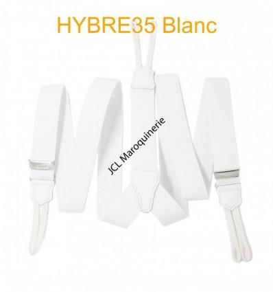 """Bretelle à bouton élastique large """"Y"""" à 3 branches fabrication française blanc"""