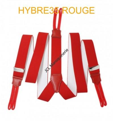 """Bretelle à bouton élastique large """"Y"""" à 3 branches fabrication française Rouge"""