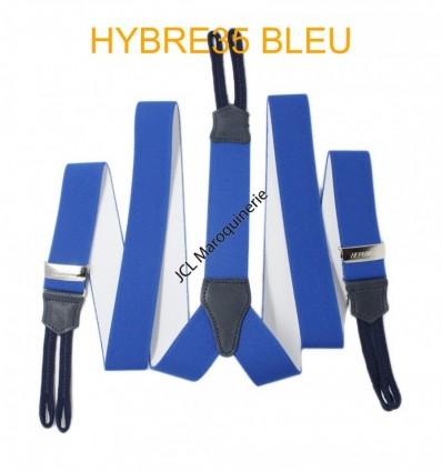 """Bretelle à bouton élastique large """"Y"""" à 3 branches fabrication française Bleu"""