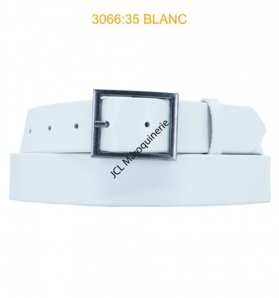 Ceinture femme large en croute de cuir de vachette 3066 blanc