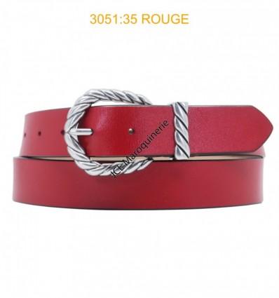 Ceinture femme large en croute de cuir de vachette 3051 Rouge