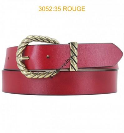 Ceinture femme large en croute de cuir de vachette 3052 Rouge