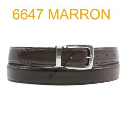 Ceinture en cuir de vachette fabrication francaise 6647 Marron