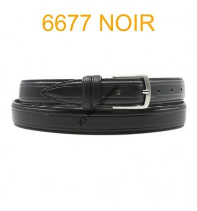 Ceinture en cuir de vachette fabrication francaise 6677 noir