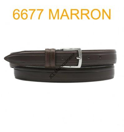 Ceinture en cuir de vachette fabrication francaise 6677 Marron