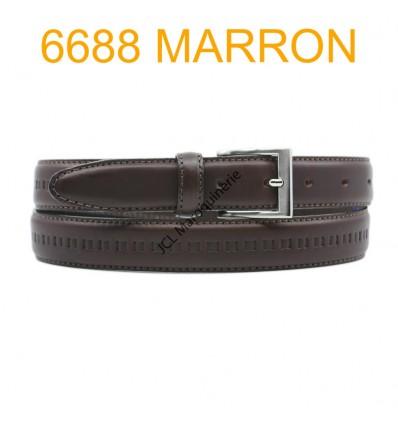 Ceinture en cuir de vachette fabrication francaise 6688 Marron
