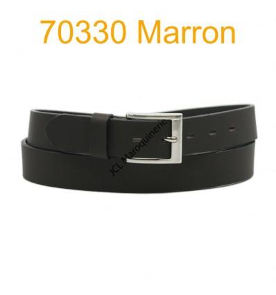Ceinture en cuir de vachette fabrication francaise 70330 Marron