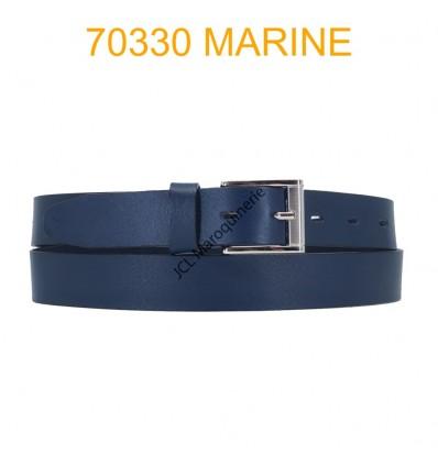 Ceinture en cuir de vachette fabrication francaise 70330 Marine