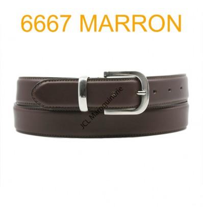 Ceinture en cuir de vachette fabrication francaise 6667 Marron
