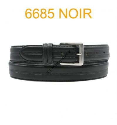 Ceinture en cuir de vachette fabrication francaise 6685 noir