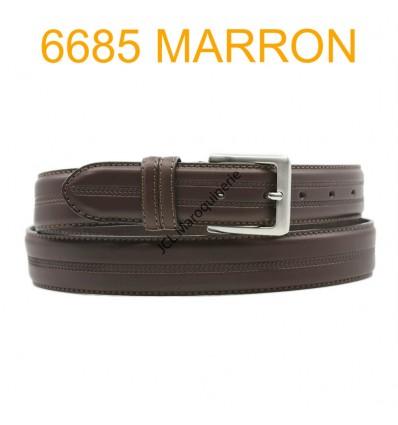 Ceinture en cuir de vachette fabrication francaise 6685 Marron
