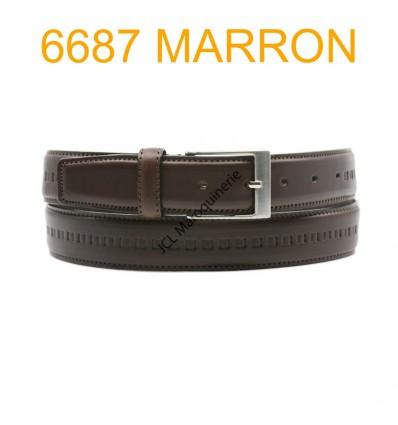 Ceinture en cuir de vachette fabrication francaise 6687 Marron