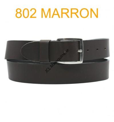 Ceinture en cuir de vachette fabrication francaise 802 Marron