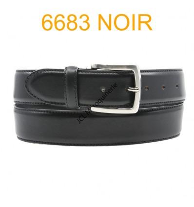 Ceinture en cuir de vachette fabrication francaise 6683 noir